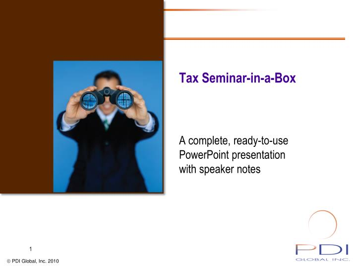 Tax seminar in a box