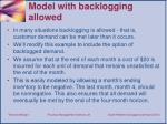 model with backlogging a llowed