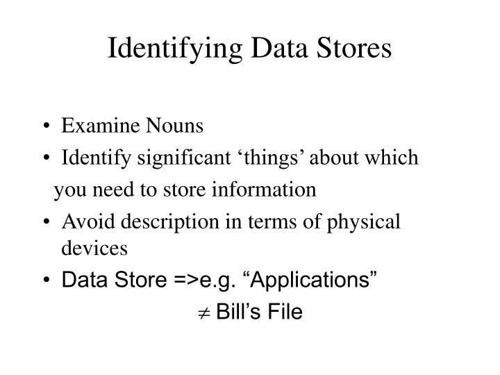 Identifying Data Stores
