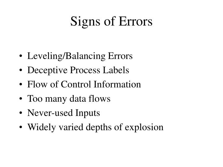Signs of Errors
