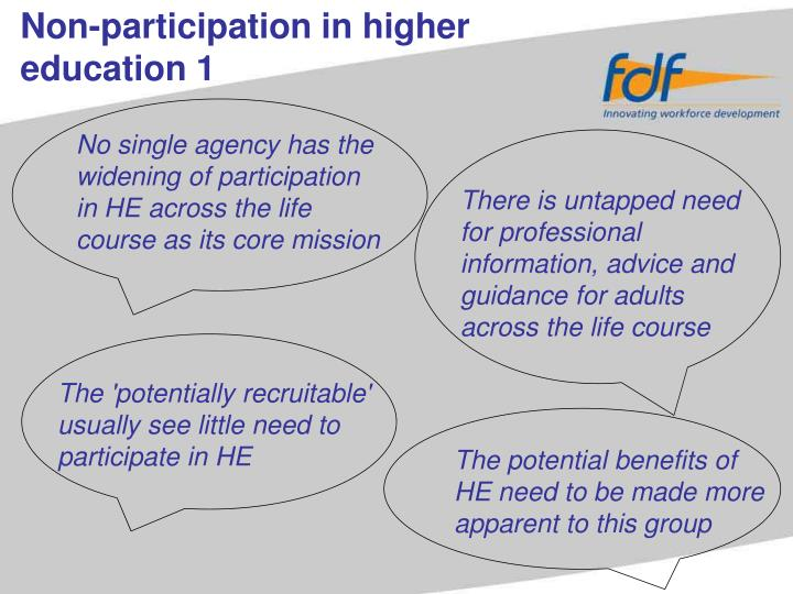 Non-participation in higher education 1