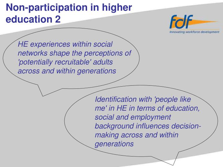 Non-participation in higher education 2