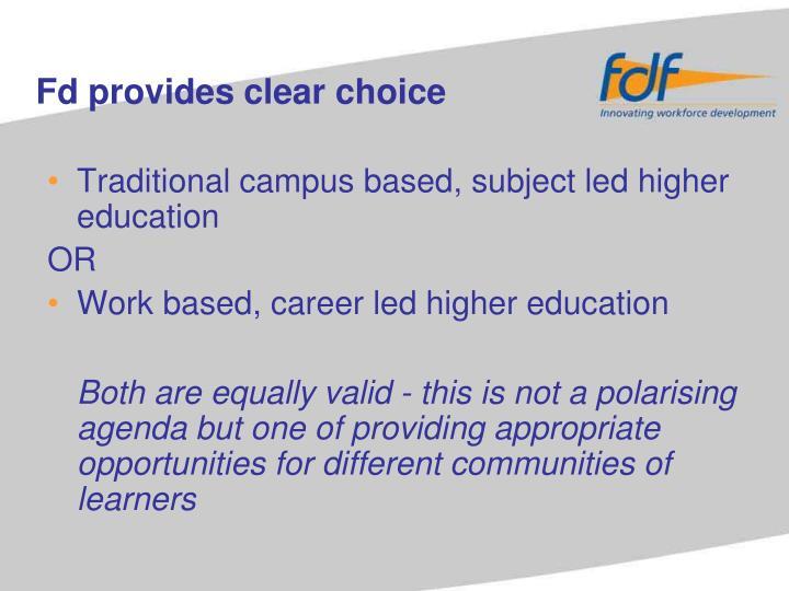 Fd provides clear choice