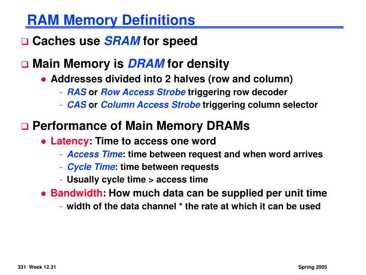RAM Memory Definitions