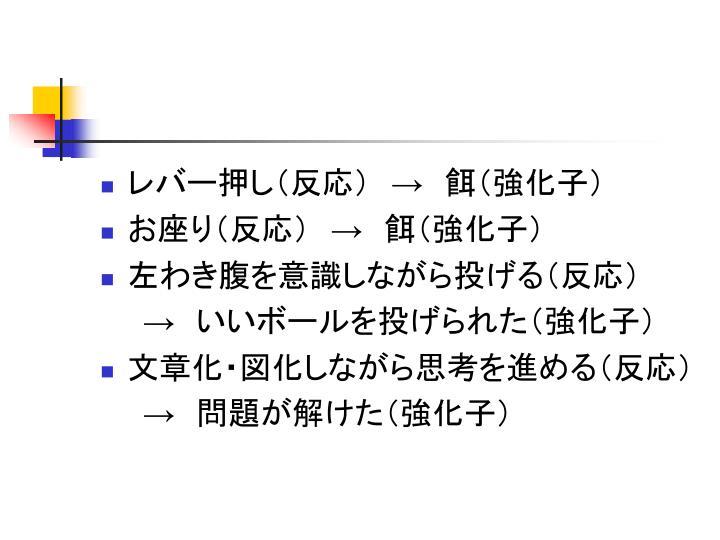 レバー押し(反応) → 餌(強化子)