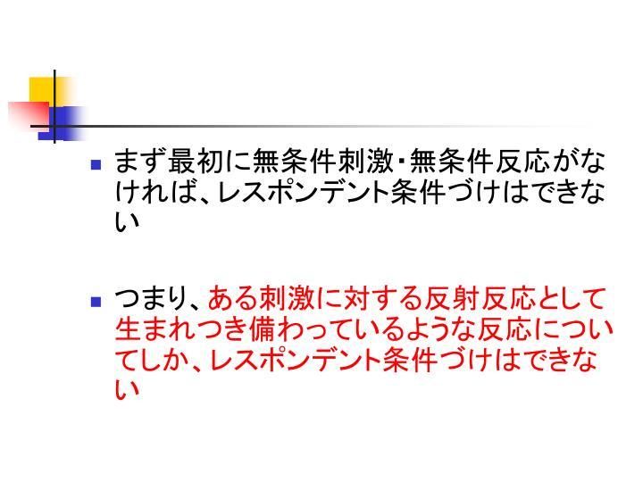 まず最初に無条件刺激・無条件反応がなければ、レスポンデント条件づけはできない