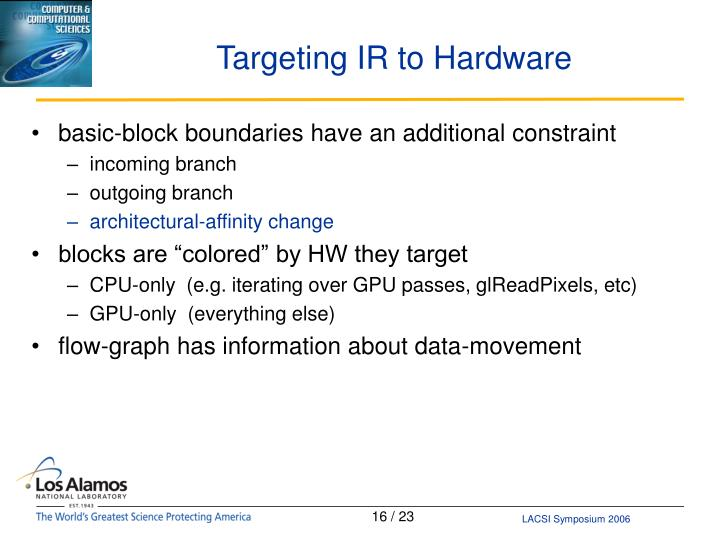 Targeting IR to Hardware