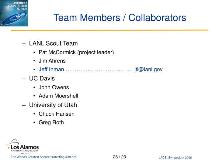 Team Members / Collaborators