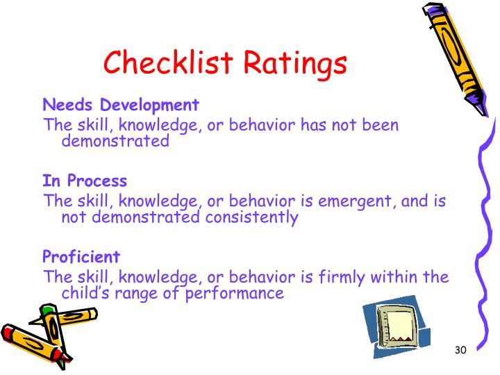 Checklist Ratings