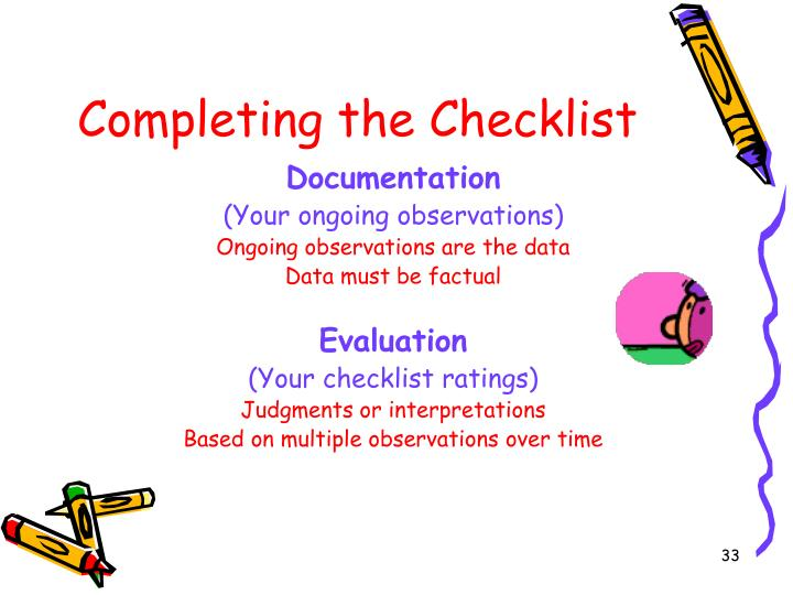 Completing the Checklist