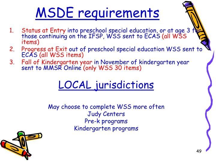 MSDE requirements