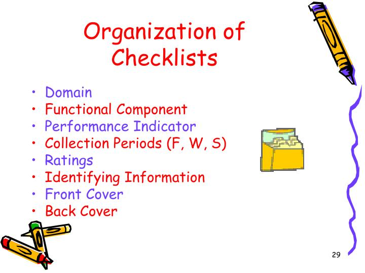 Organization of Checklists