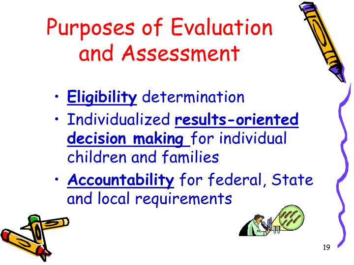 Purposes of Evaluation and Assessment