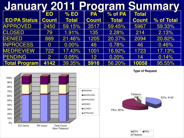 January 2011 Program Summary