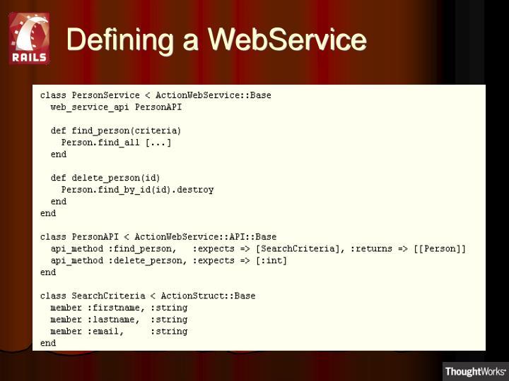 Defining a WebService