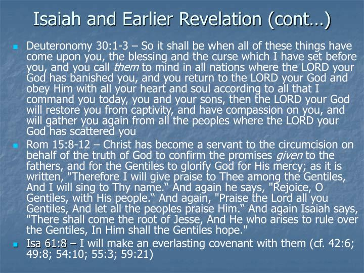 Isaiah and Earlier Revelation (cont…)