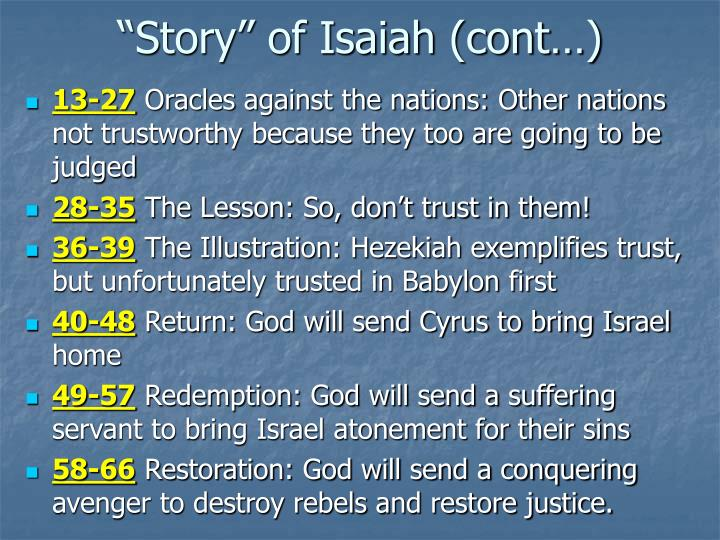 Story of isaiah cont