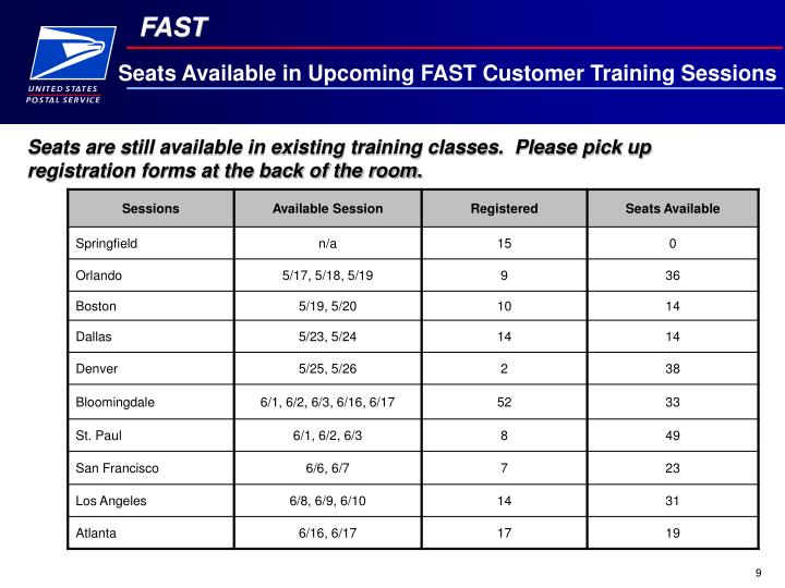 Seats Available in Upcoming FAST Customer Training Sessions