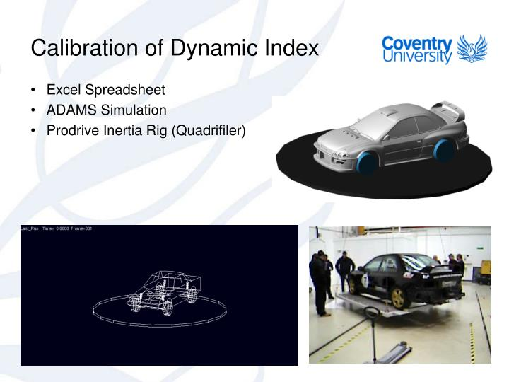 Calibration of Dynamic Index