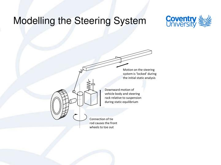 Motion on the steering system is 'locked' during the initial static analysis