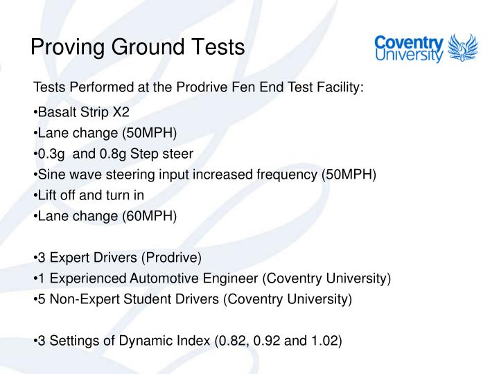 Proving Ground Tests