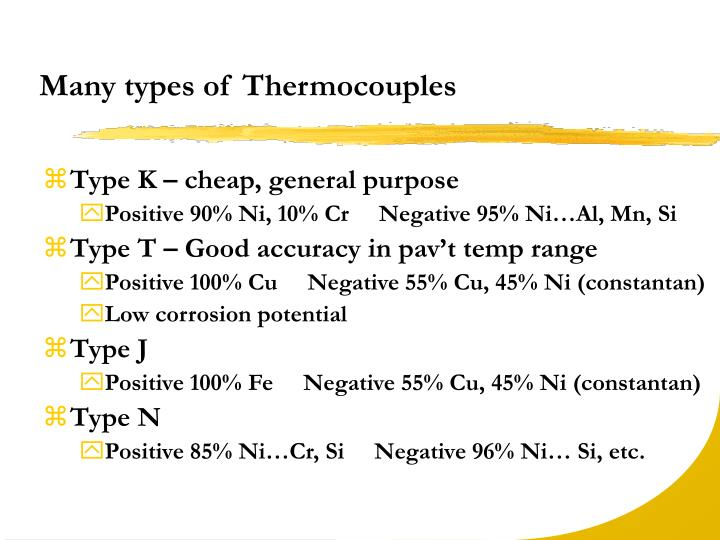 Many types of Thermocouples