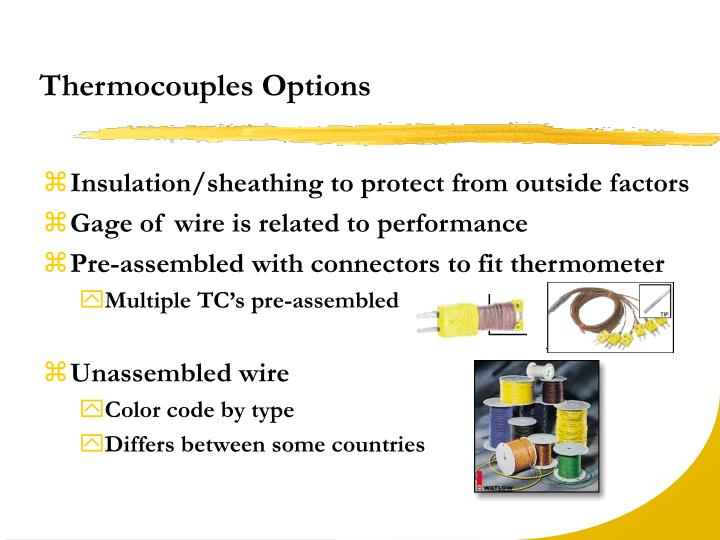 Thermocouples Options