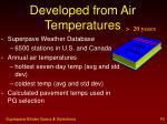 developed from air temperatures