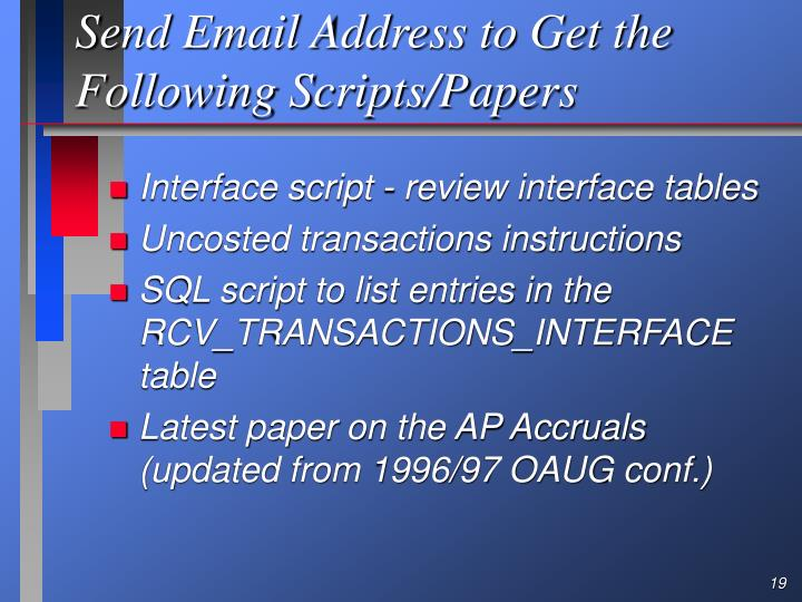 Send Email Address to Get the Following Scripts/Papers