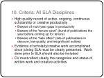 10 criteria all sla disciplines
