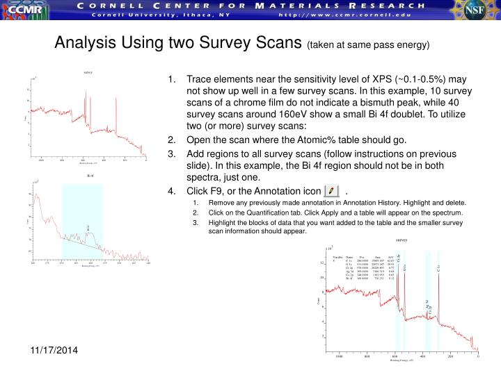 Analysis Using two Survey Scans