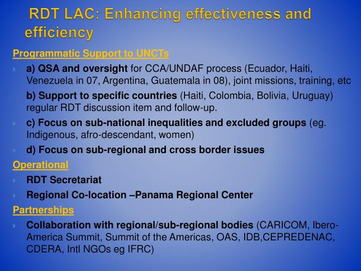 RDT LAC: Enhancing effectiveness and efficiency