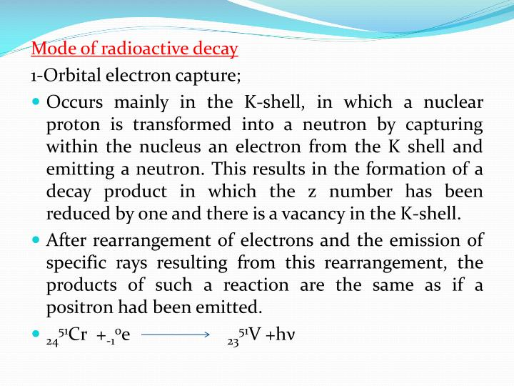Mode of radioactive decay