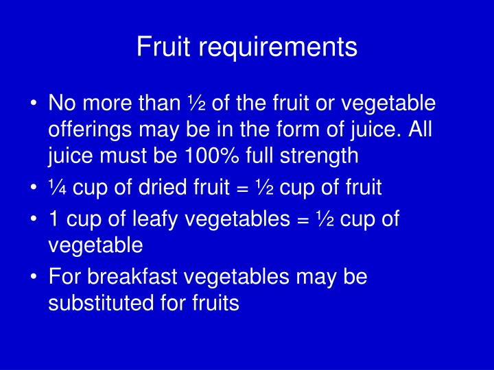 Fruit requirements