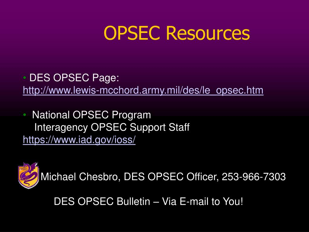 PPT - OPSEC Countermeasures Michael Chesbro DES OPSEC