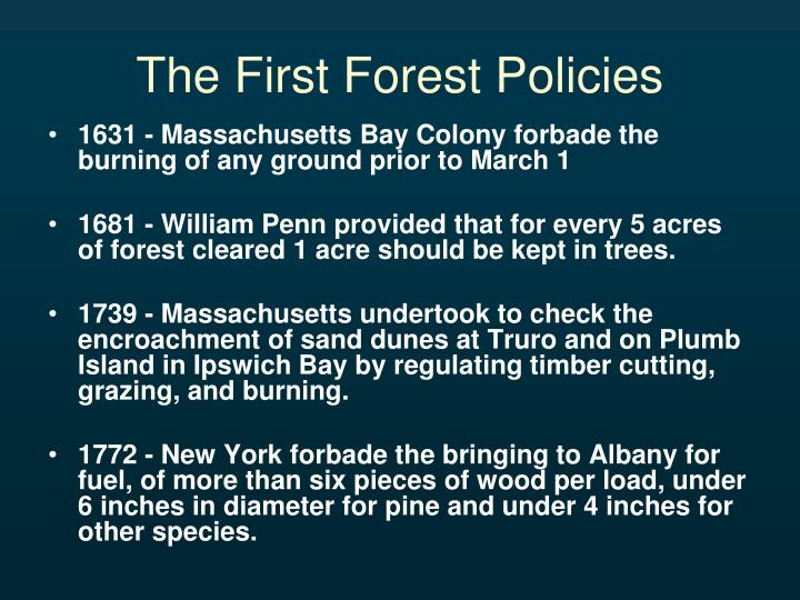 The First Forest Policies