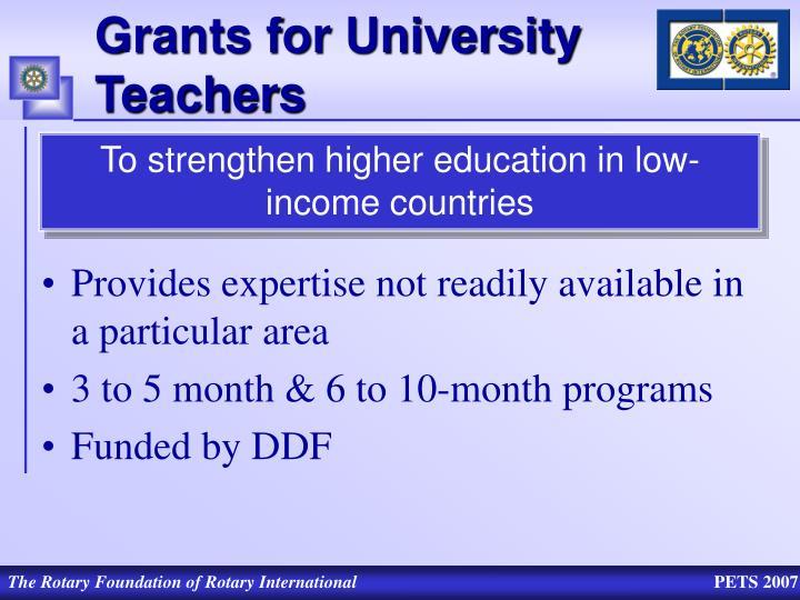 Grants for University Teachers
