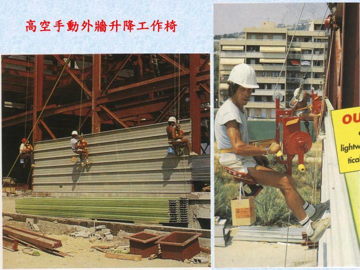 高空手動外牆升降工作椅