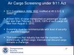 air cargo screening under 9 11 act