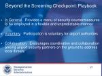 beyond the screening checkpoint playbook