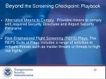 beyond the screening checkpoint playbook1