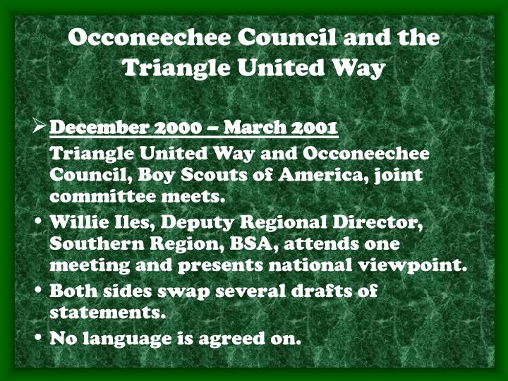 Occoneechee Council and the Triangle United Way