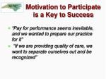 motivation to participate is a key to success