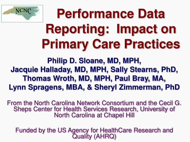 performance data reporting impact on primary care practices n.