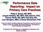 performance data reporting impact on primary care practices