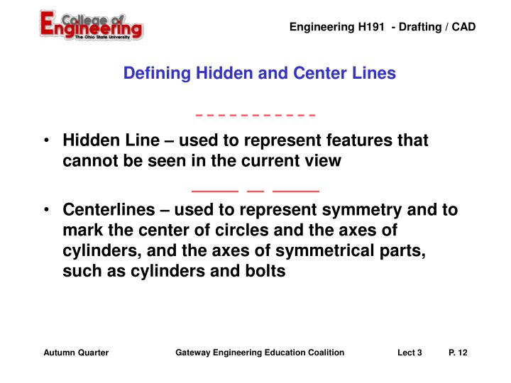 Defining Hidden and Center Lines