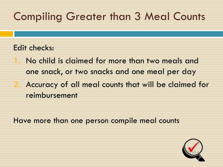 Compiling Greater than 3 Meal Counts