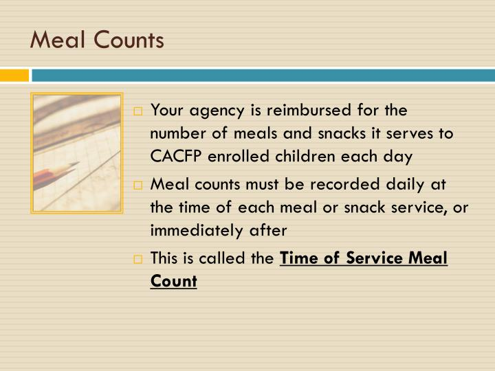 Meal counts