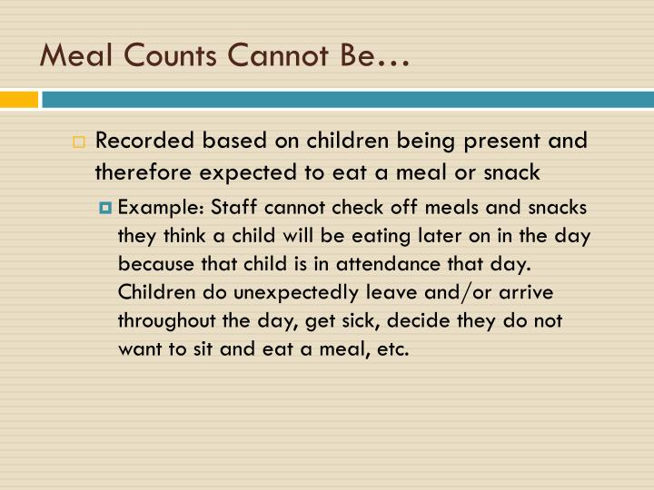 Meal Counts Cannot