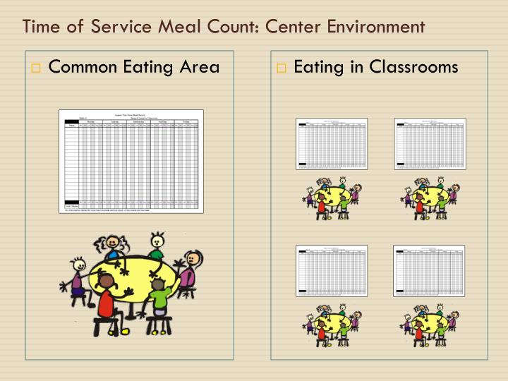 Time of Service Meal Count: Center Environment
